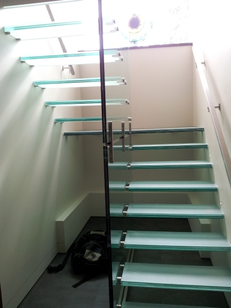 Glass Steps on Glass wall